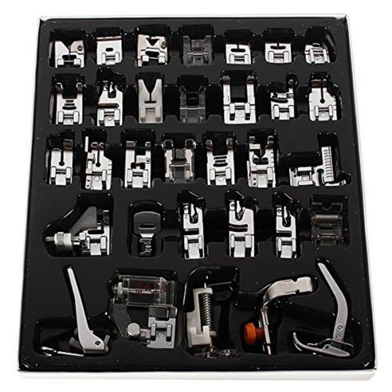 Kit de 32 Pés Calcadores (Sapatilhas) Para Máquinas de Costura Doméstica / Portátil Singer, Janome, Brother, Elna e outras!
