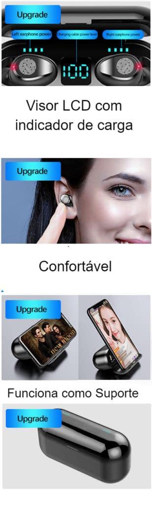 Sensacional Fone de Ouvido microDot Sem Fio Bluetooth TWS F9 - Com caixa carregadora