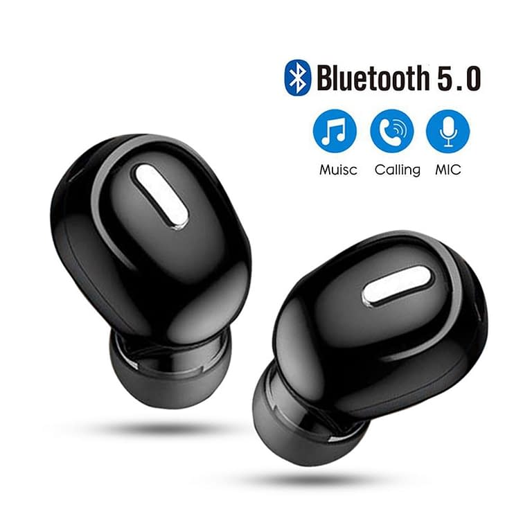 Mini fone de ouvido intra-auricular, fone de ouvido bluetooth 5.0 com microfone estéreo e som mãos livres para todos telefones