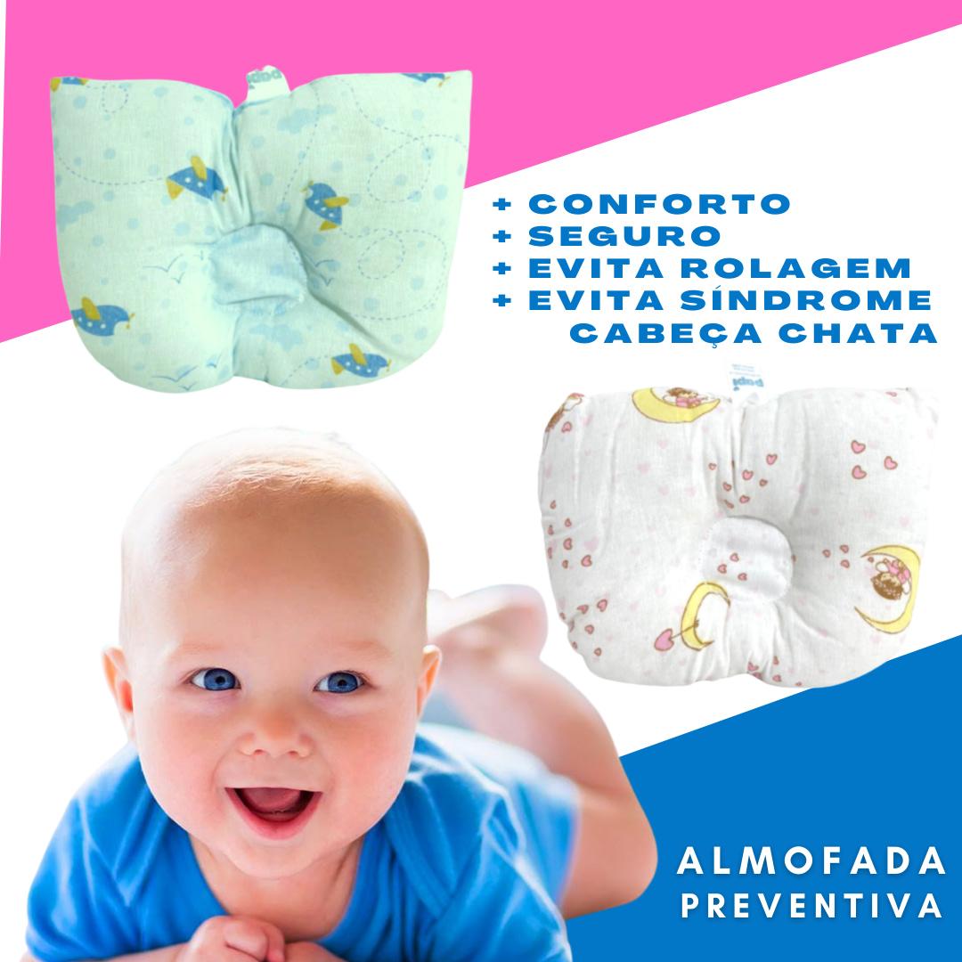 Travesseiro / Almofada Preventivo Síndrome da Cabeça Chata (Braquicefalia) p/ Bebê Recém Nascido