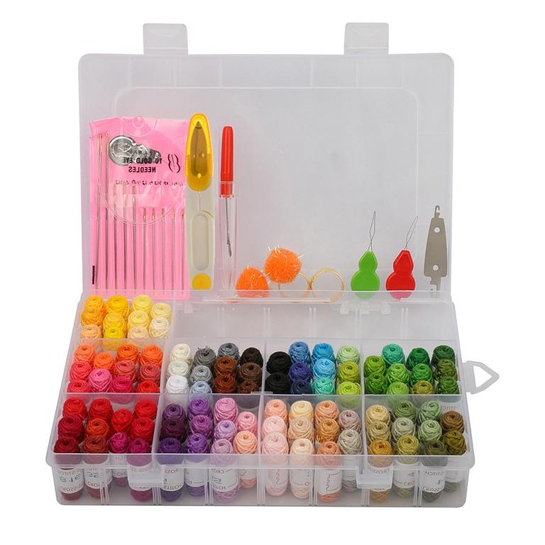 Kit de costura com agulha para bordado a mão, ponto cruz, crochet e outros