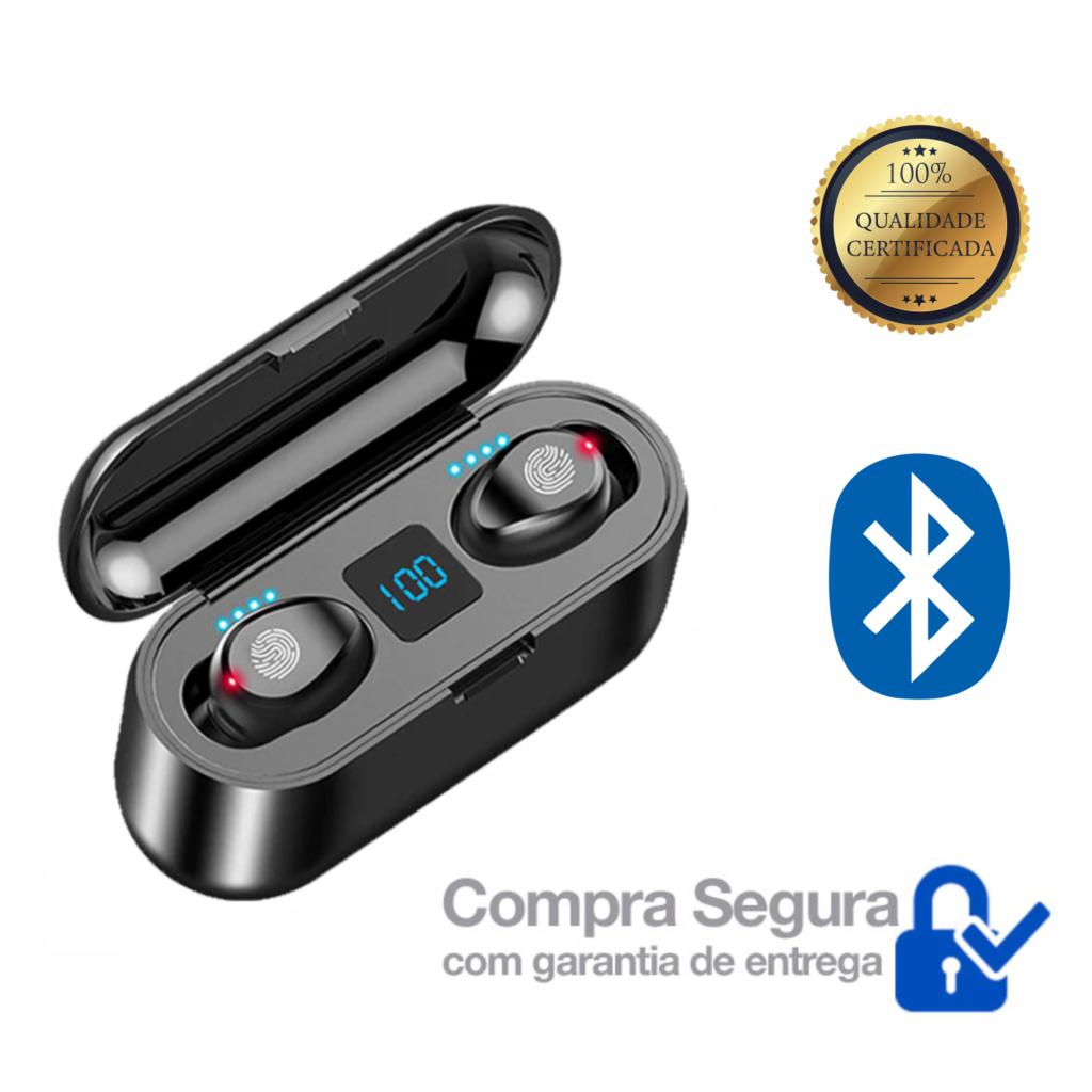 Sensacional Fone de Ouvido microDot Sem Fio Bluetooth TWS F9 – Com Power Bank (Bateria externa)